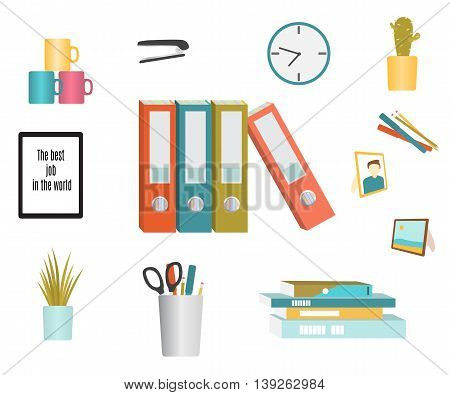 Set of office supplies. Flat design. Vector illustration isolated on white