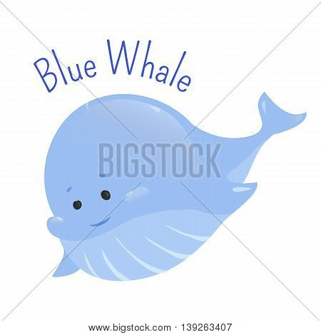 Blue whale isolated on white background. Balaenoptera musculus. Marine mammal. The largest and heaviest extant animal. Part of series of cartoon northern animal species. Child fun pattern icon. Vector