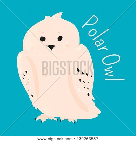 Polar owl isolated. Bird Strigiformes. Large, broad head, binocular vision, binaural hearing, sharp talons, silent flight. Part of series of cartoon northern animal species. Child fun icon. Vector