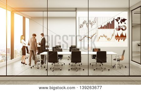 Whiteboard with business chart in conference room interior with businesspeople New York city view and sunlight. 3D Rendering