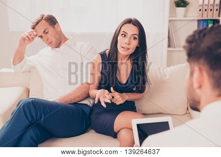 Young Couple In Love With Disagreements Visiting Therapist For Assistance