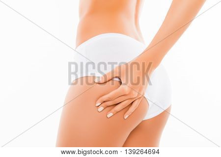Close Up Portrait Of Shapely Woman Checking Cellulite On Her Ass