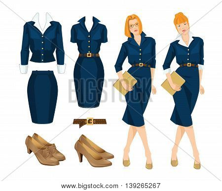 Vector illustration of redhead woman in blue dress. Formal clothes and shoes on white background.