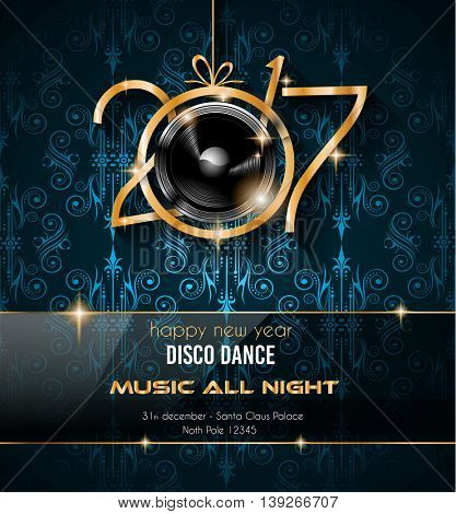 2017 happy new year disco party background for your flyers and greetings card ideal to