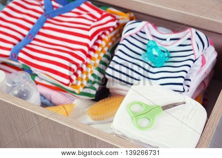 Baby accessories for hygiene in the drawer