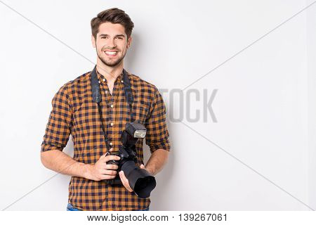 Happy Handsome Man With Professional Camera Isolated On White Background