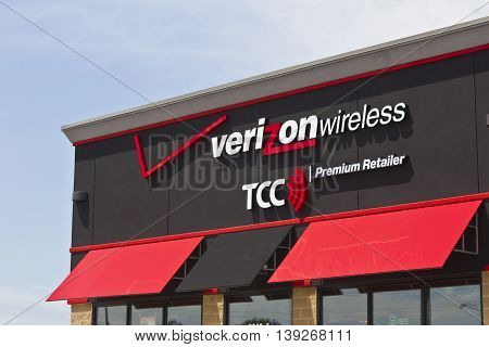 Marion IN - Circa July 2016: Verizon Wireless Retail Location. Verizon is One of the Largest Communication Technology Companies VIII