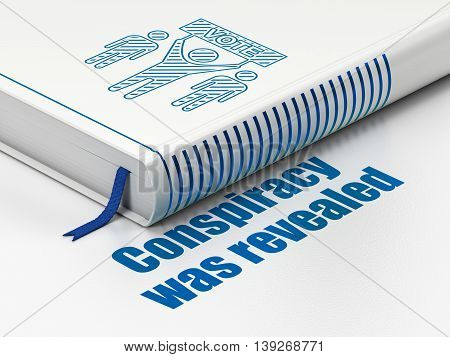 Political concept: closed book with Blue Election Campaign icon and text Conspiracy Was Revealed on floor, white background, 3D rendering