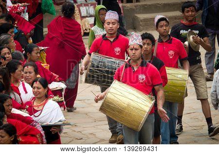 Musicians  In Bhaktapur, Nepal.