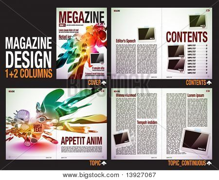 Magazine Layout Design Template with Cover + 6 pages (3 spreads) of Contents Preview. poster