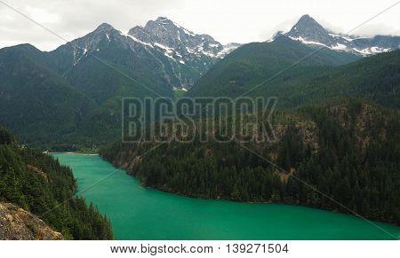 Emerald Diablo Lake in North Cascades National Park