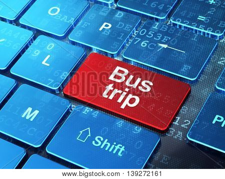 Tourism concept: computer keyboard with word Bus Trip on enter button background, 3D rendering