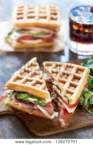 Sliced Waffle Sandwiches