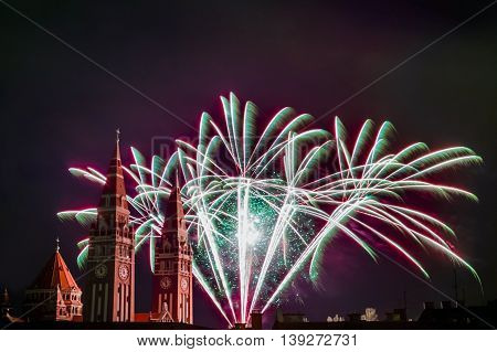 Fireworks at the Dom (Votive Church) of Szeged