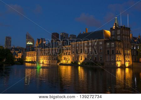 Dutch Parliament Building and Hofvijver in the Hague Den Haag the Netherlands at night