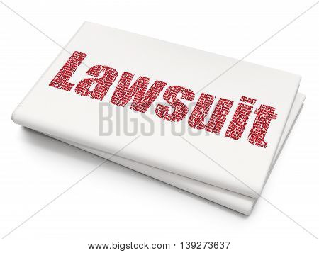 Law concept: Pixelated red text Lawsuit on Blank Newspaper background, 3D rendering