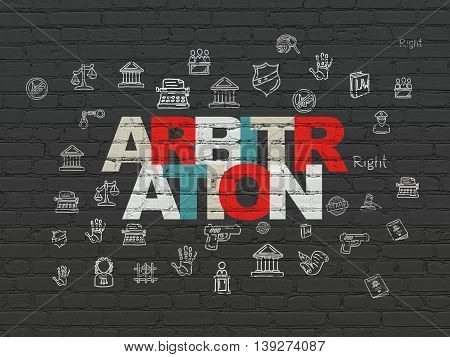 Law concept: Painted multicolor text Arbitration on Black Brick wall background with  Hand Drawn Law Icons
