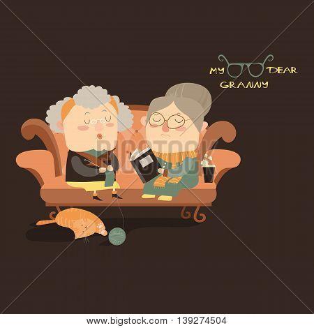 Elderly women sitting on couch. Vector illustration