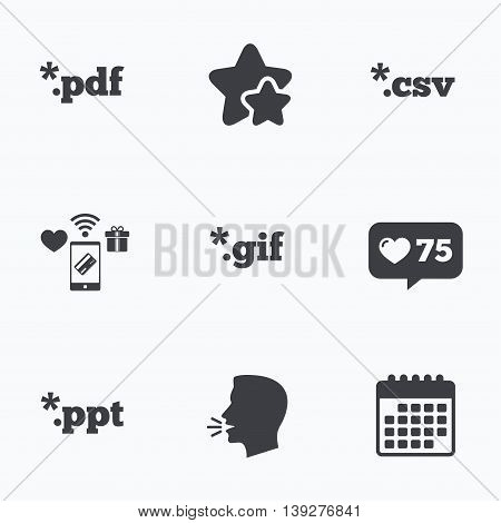 Document icons. File extensions symbols. PDF, GIF, CSV and PPT presentation signs. Flat talking head, calendar icons. Stars, like counter icons. Vector