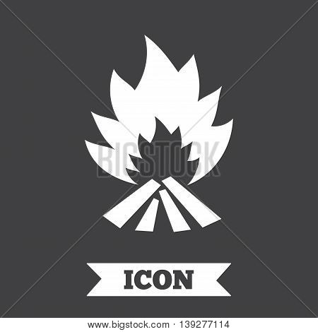 Fire flame sign icon. Heat symbol. Stop fire. Escape from fire. Graphic design element. Flat fire flame symbol on dark background. Vector
