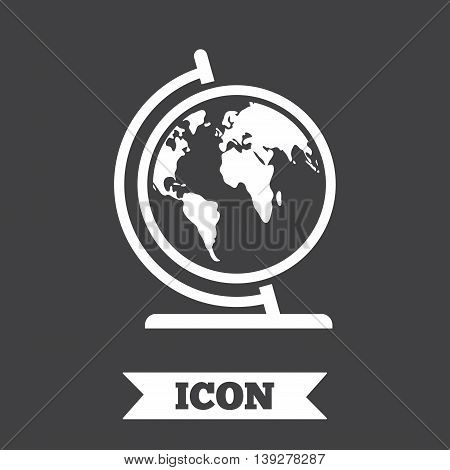 Globe sign icon. World map geography symbol. Globe on stand for studying. Graphic design element. Flat world symbol on dark background. Vector