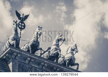 Quadriga - The Top Of The Brandenburg Gate In Berlin