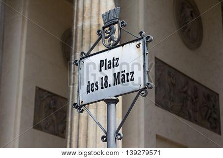 Berlin Germany - July 20 2016: Street sign of