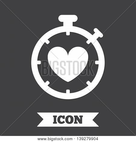 Heart Timer sign icon. Stopwatch symbol. Heartbeat palpitation. Graphic design element. Flat heart timer symbol on dark background. Vector