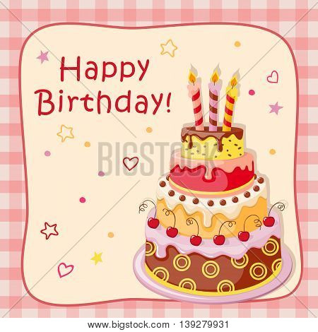 Festive colorful birthday card with cake tier candles text and cherry on the vintage background. eps10.