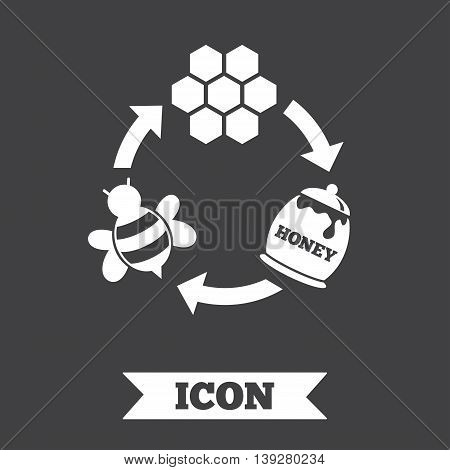 Producing honey and beeswax sign icon. Honeycomb cells symbol. Honey in pot. Sweet natural food cycle in nature. Graphic design element. Flat honey symbol on dark background. Vector