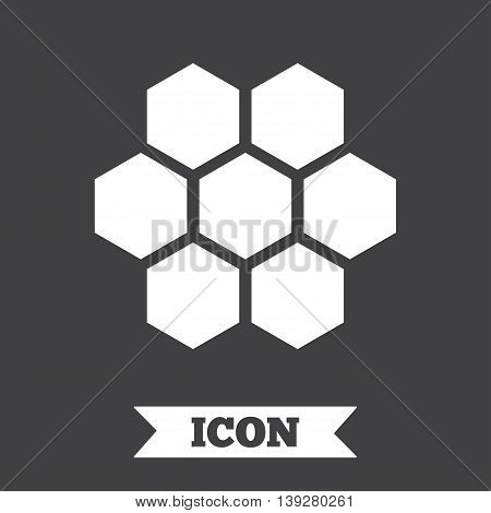 Honeycomb sign icon. Honey cells symbol. Sweet natural food. Graphic design element. Flat honeycomb symbol on dark background. Vector