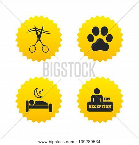 Hotel services icons. With pets allowed in room signs. Hairdresser or barbershop symbol. Reception registration table. Quiet sleep. Yellow stars labels with flat icons. Vector