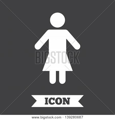 Female sign icon. Woman human symbol. Women toilet. Graphic design element. Flat female symbol on dark background. Vector