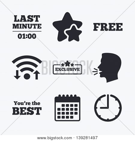 Last minute icon. Exclusive special offer with star symbols. You are the best sign. Free of charge. Wifi internet, favorite stars, calendar and clock. Talking head. Vector