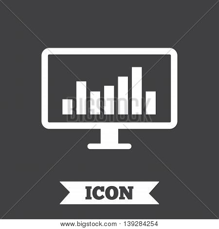 Computer monitor sign icon. Market monitoring. Graphic design element. Flat monitor chart symbol on dark background. Vector