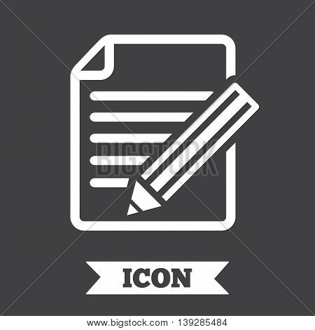 Edit document sign icon. Edit content button. Graphic design element. Flat edit document symbol on dark background. Vector