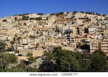 Homes on a hillside in Israel as seen from near the old city of Jerusalem.