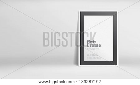 Vector, Blank Photo Frame In White Studio Room, Template Mock Up For Display Or Montage Of Your Cont