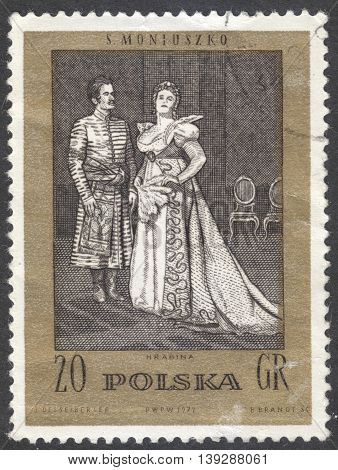 MOSCOW RUSSIA - CIRCA FEBRUARY 2016: a post stamp printed in POLAND shows scene