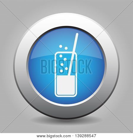 blue metal button - white glass with carbonated drink and straw