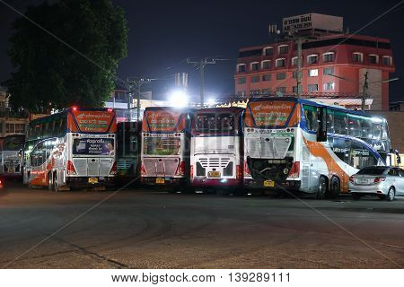 CHIANGMAI THAILAND -JULY 18 2016: Transport government company Double deck bus route Bangkok and Chiangmai. Photo at Chiangmai bus station.