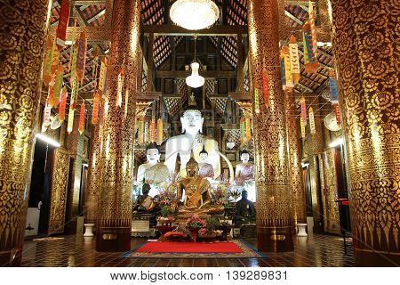 CHIANGMAI THAILAND -JULY 18 2016: White Buddha statue in Inthakhin Sadue Muang Temple Center on city Location Near Three Kings Monument.