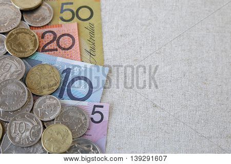 Australian money AUD selective focus copy space background