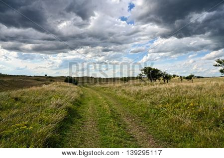 Uncultivated fields covered with dramatic sky. Summer scene from central Europe.