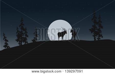 Silhouette of antelope and full moon illustration