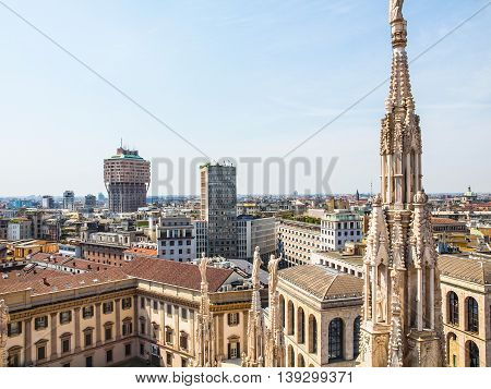 High dynamic range HDR View of the city of Milan Milano in Italy poster