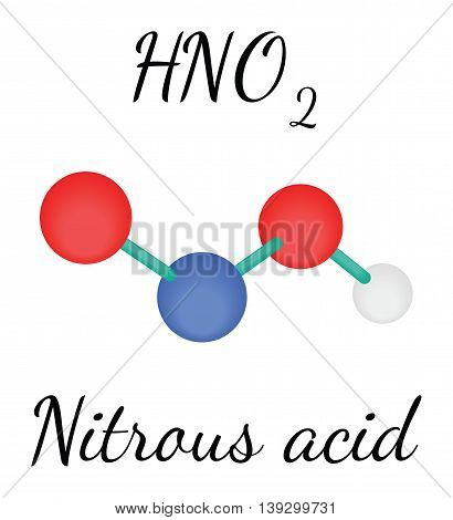 HNO2 nitrous acid 3d molecule isolated on white
