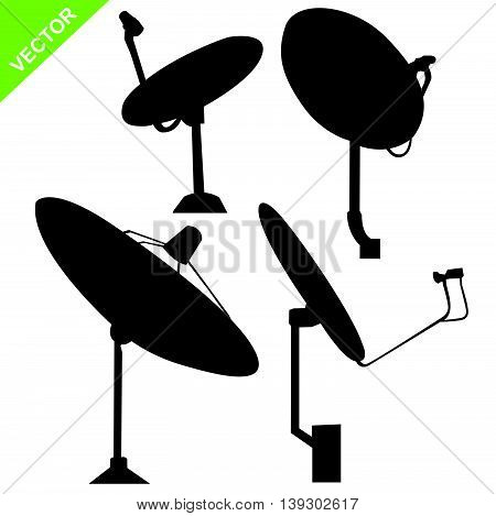 Set of Satellite dish silhouette on white color background