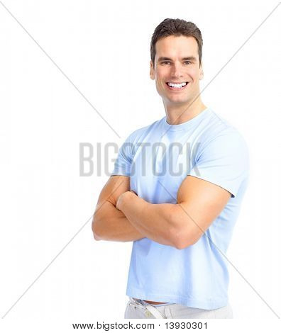 Handsome young man smiling. Isolated over white background