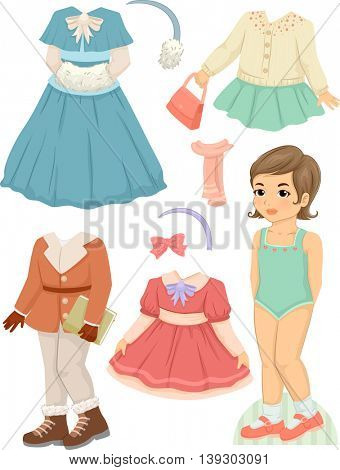 Illustration Featuring a Paper Doll and a Set of Winter Clothes